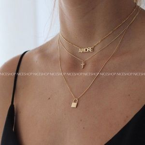 Jewelry - Gold Plated Amore Lock Three Layers Necklace